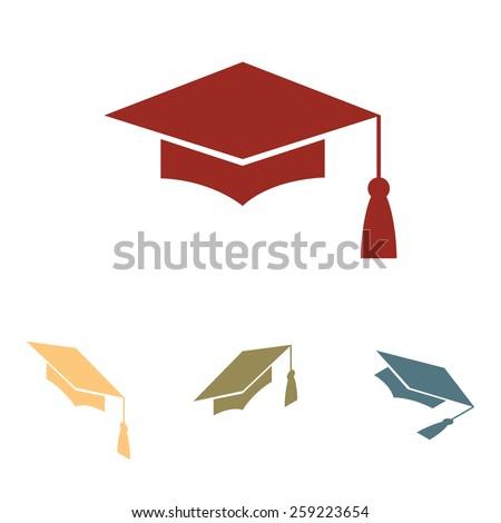 Mortar Board or Graduation Cap, Education symbol  set. Isometric effect - stock vector