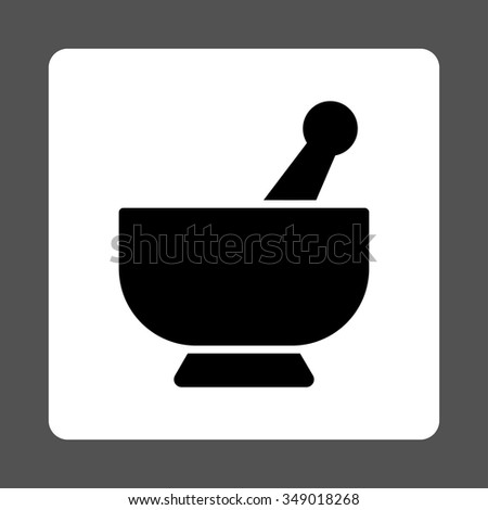 Mortar vector icon. Style is flat rounded square button, black and white colors, gray background. - stock vector