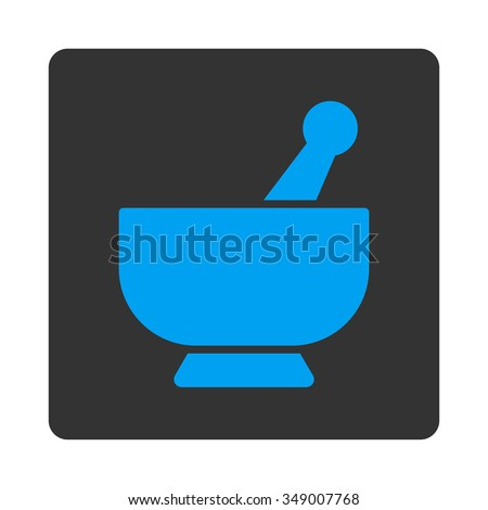 Mortar vector icon. Style is flat rounded square button, blue and gray colors, white background. - stock vector