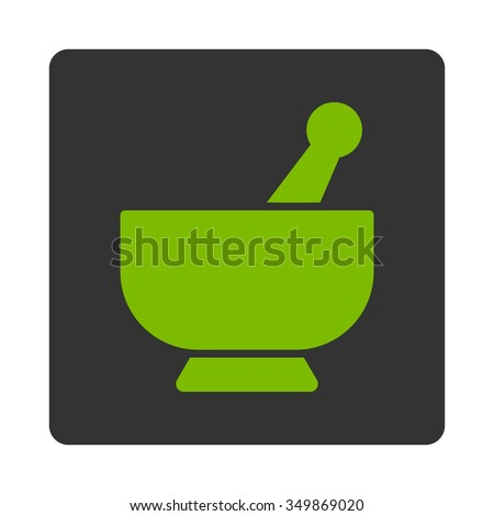 Mortar vector icon. Style is flat rounded square button, eco green and gray colors, white background. - stock vector