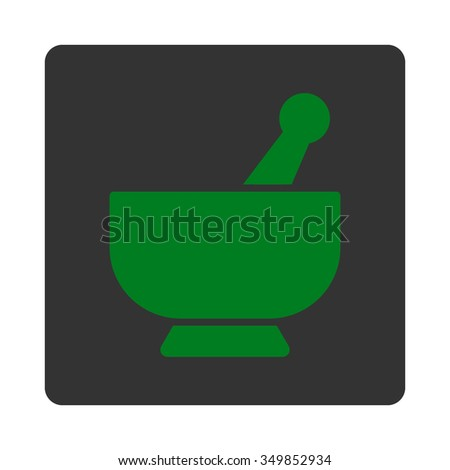 Mortar vector icon. Style is flat rounded square button, green and gray colors, white background. - stock vector