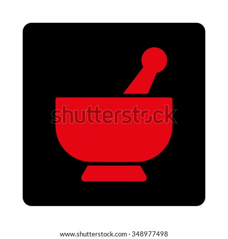 Mortar vector icon. Style is flat rounded square button, intensive red and black colors, white background. - stock vector