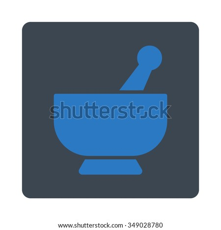 Mortar vector icon. Style is flat rounded square button, smooth blue colors, white background. - stock vector