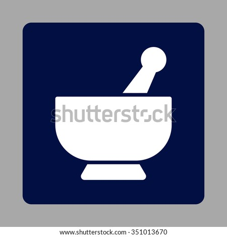 Mortar vector icon. Style is flat rounded square button, white and dark blue colors, silver background. - stock vector