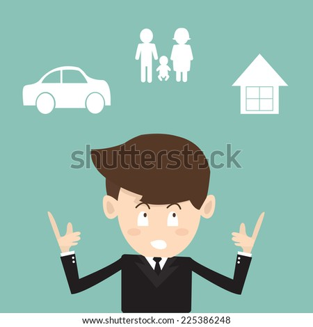 Mortgage and insurance concept - Businessman planning future - stock vector