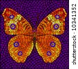 Mosaic butterfly - stock photo