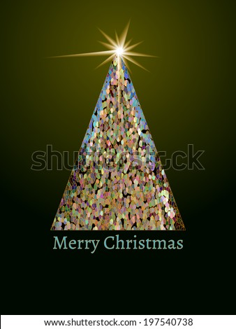 Mosaic Christmas tree with shining star