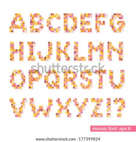 Mosaic Circle Polka Dot Bead Colorful Vector Alphabet Typeface Font - stock vector