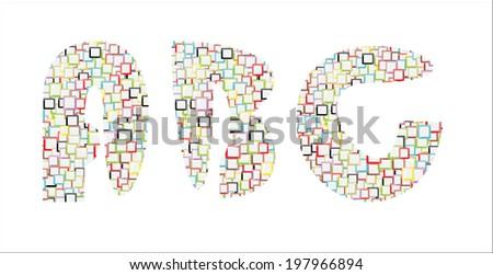 Mosaic Colorful Vector Alphabet-A,B,C - stock vector