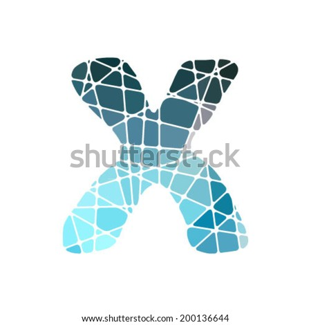 mosaic font, letter x - stock vector