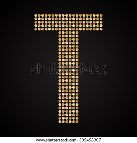 Mosaic. Gold paillette alphabet.