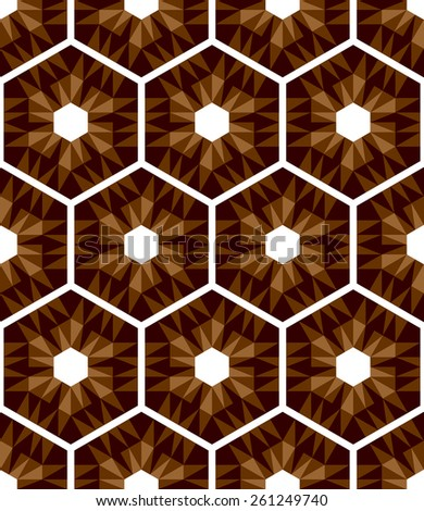 Mosaic hexagons pattern. Seamless texture. Vector art. - stock vector