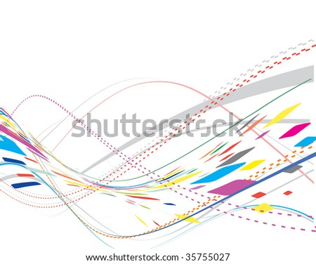 mosaic rainbow wave line background with halftone background