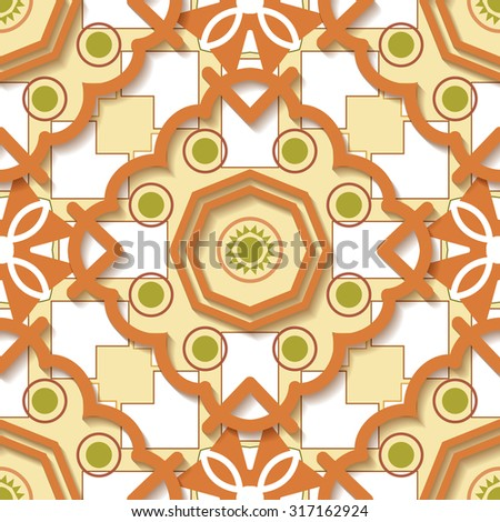 Mosaic seamless pattern geometric shapes for printing on fabrics and wallpaper - stock vector