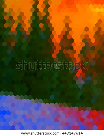 Mosaic summer landscapes at sunset with orange sky and green trees created with hexagons