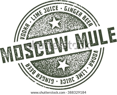 Moscow Mule Cocktail Bar Stamp - stock vector