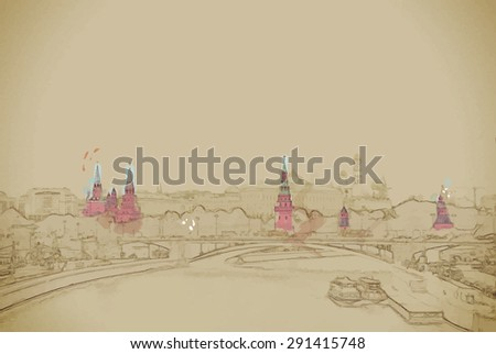 Moscow River and the Kremlin. The Moscow Kremlin is the main attraction of the Russian capital.Travel background illustration. Painting with watercolor and pencil. Brushed artwork. Vector format. - stock vector