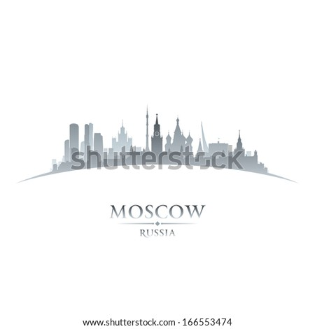 Moscow Russia city skyline silhouette. Vector illustration - stock vector