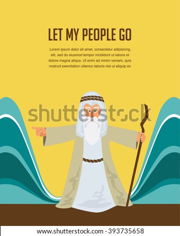 Moses Splitting The Sea - Moses splitting the red sea with the Israelite leaving Egypt - stock vector