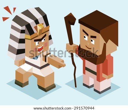 moses vs ramses. vector illustration - stock vector