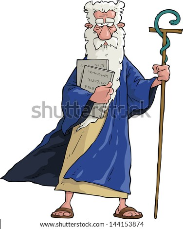 Moses with his staff and tablets vector illustration - stock vector