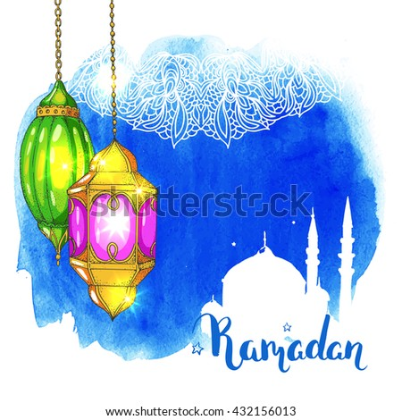 Mosque at night. Arabic lanterns. Blue watercolor stain background. Islamic ornament. Ramadan greeting card. Calligraphy inscription. Brush lettering.