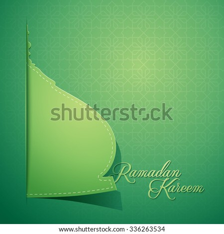 Mosque dome paper style for greeting background Ramadan Kareem - Translation : May Generosity Bless you during the holy month - stock vector