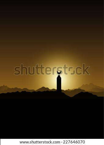 Mosque minaret in the Sahara desert at sunset Bedouins Egypt - stock vector