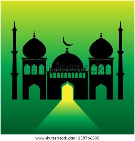 mosque on green  background with light ray from the door.  - stock vector
