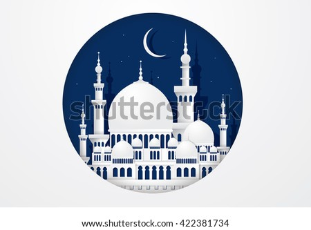 mosque paper cutting vector/illustration