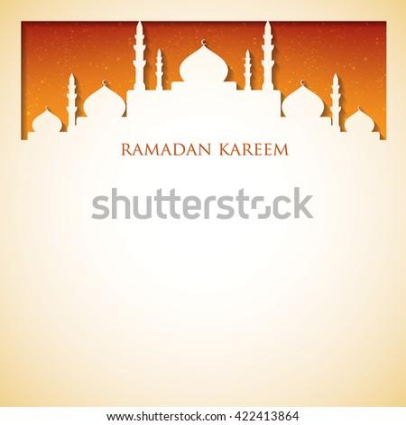 "Mosque ""Ramadan Kareem"" (Generous Ramadan) card in vector format. - stock vector"