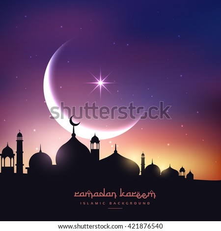 mosque silhouette in night sky with crescent moon and star - stock vector