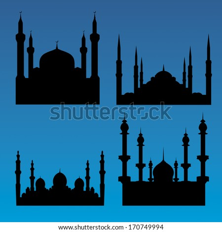 Mosque silhouettes - stock vector