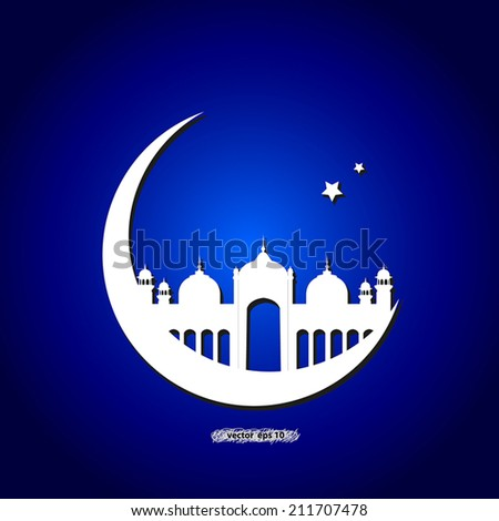 mosque with moon and stars over blue background shows islamic, muslim, ramadan, culture of asian, traditional, religion, arabic, spiritual and faith idea background concept - stock vector