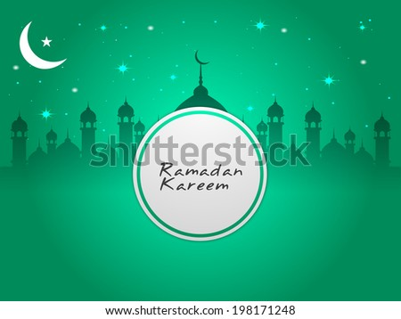 Mosque with moon on Ramadan Kareem background. - stock vector