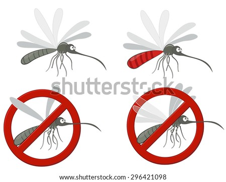 Mosquito and anti mosquito sign.  - stock vector