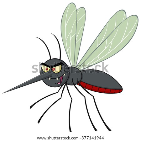 Mosquito Cartoon Character Flying. Vector Illustration Isolated On White - stock vector