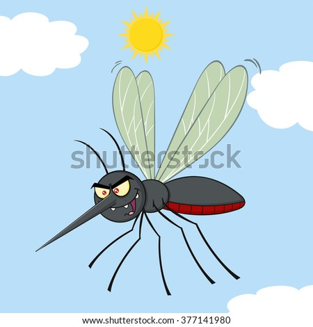 Mosquito Cartoon Character Flying. Vector Illustration With Background