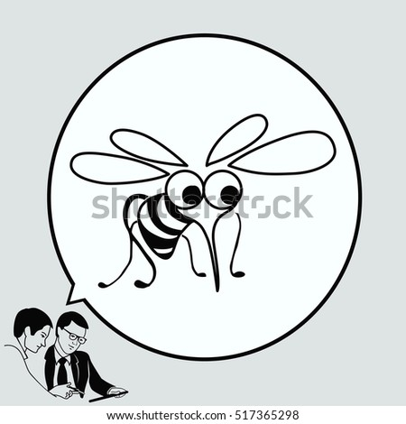 Mosquito icon. Wasp icon. Fly icon, vector illustration.