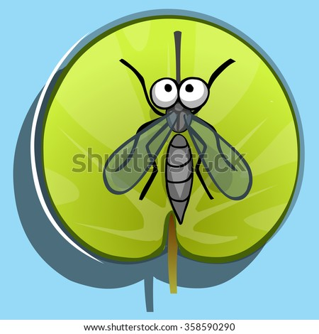 mosquito on green leaf round, view from above, top view - stock vector