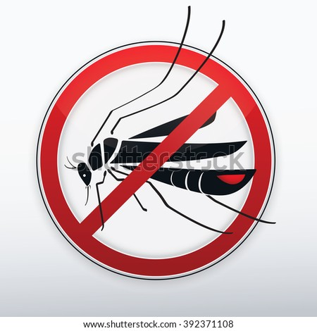 Mosquito stylized silhouette as red danger stop sign. Vector. - stock vector