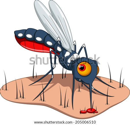 Mosquito sucks blood to the skin - stock vector