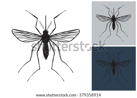 Mosquito vector image. Picture with mosquito. Symbolic mosquito. Vector mosquito logo. Label with mosquito. Attention mosquito - stock vector