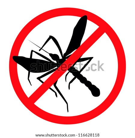 Mosquito vector silhouettes isolated. Insect repellent emblem - stock vector