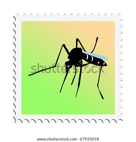 Mosquito. Vector stamp - stock vector