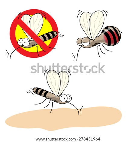 mosquitoes stop sign - vector cartoon image of funny mosquito drunk with blood and  in a red crossed out circle - stock vector