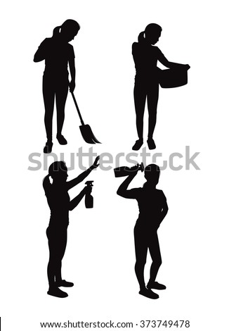 Most applicable housewives silhouettes - stock vector