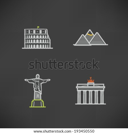 Most famous Architecture Landmarks Around the World - Colosseum (Italy), Pyramids (Egypt), Christ the Redeemer Statue (Brasil), Brandenburg Gate (Germany). - stock vector