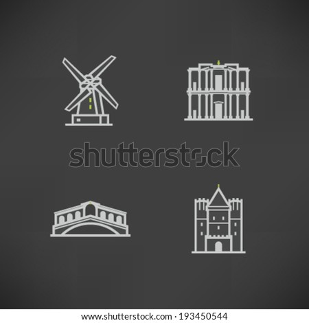 Most famous Architecture Landmarks Around the World - Mills (Netherlands), Petra (Jordan), Ponte Di Rialto (Italy), Gate of Spalen (Switzerland),   - stock vector