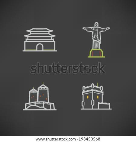 Most famous Architecture Landmarks Around the World - Namdaemun-Sungnyemun (Korea), Christ the Redeemer (statue), Brasil, Suomenlinna Castle (Finland), Belem Tower (Portugal),   - stock vector